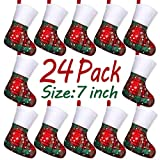 LimBridge Christmas Mini Stockings, 24 Pack 7 inches Plaid Snowflake Print with Fleece Cuff, Rustic Stocking Decorations for Whole Family