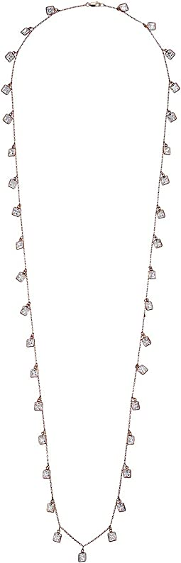 Sterling Silver Rose Plated Crystal Chain Necklace