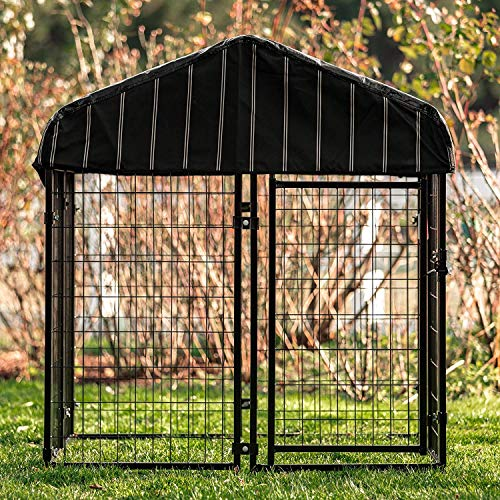 Lucky Dog 4ft x 4ft x 4.5ft Uptown Welded Wire Outdoor Dog Kennel Playpen Crate with Heavy Duty Waterproof Cover, Black