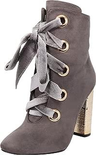 Cambridge Select Women's Large Metallic Eyelet Wrapped Chunky Block Heel Ankle Bootie