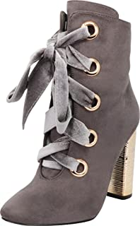 Cambridge Select Women's Large Metallic Eyelet Wrapped Chunky Block Heel Ankle Bootie