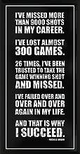 Culturenik Michael Jordan Success Inspirational Motivational Sports Basketball Icon Quote Print (Framed 12x24 Poster)