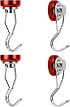 Ant Mag Swivel Magnetic Hooks 50lbs Heavy Duty Neodymium Magnet Hooks 4 Pack with Scratch Proof Stickers Great for Home Refrigerator Kitchen Store Grill BBQ Office Warehouse (Red)