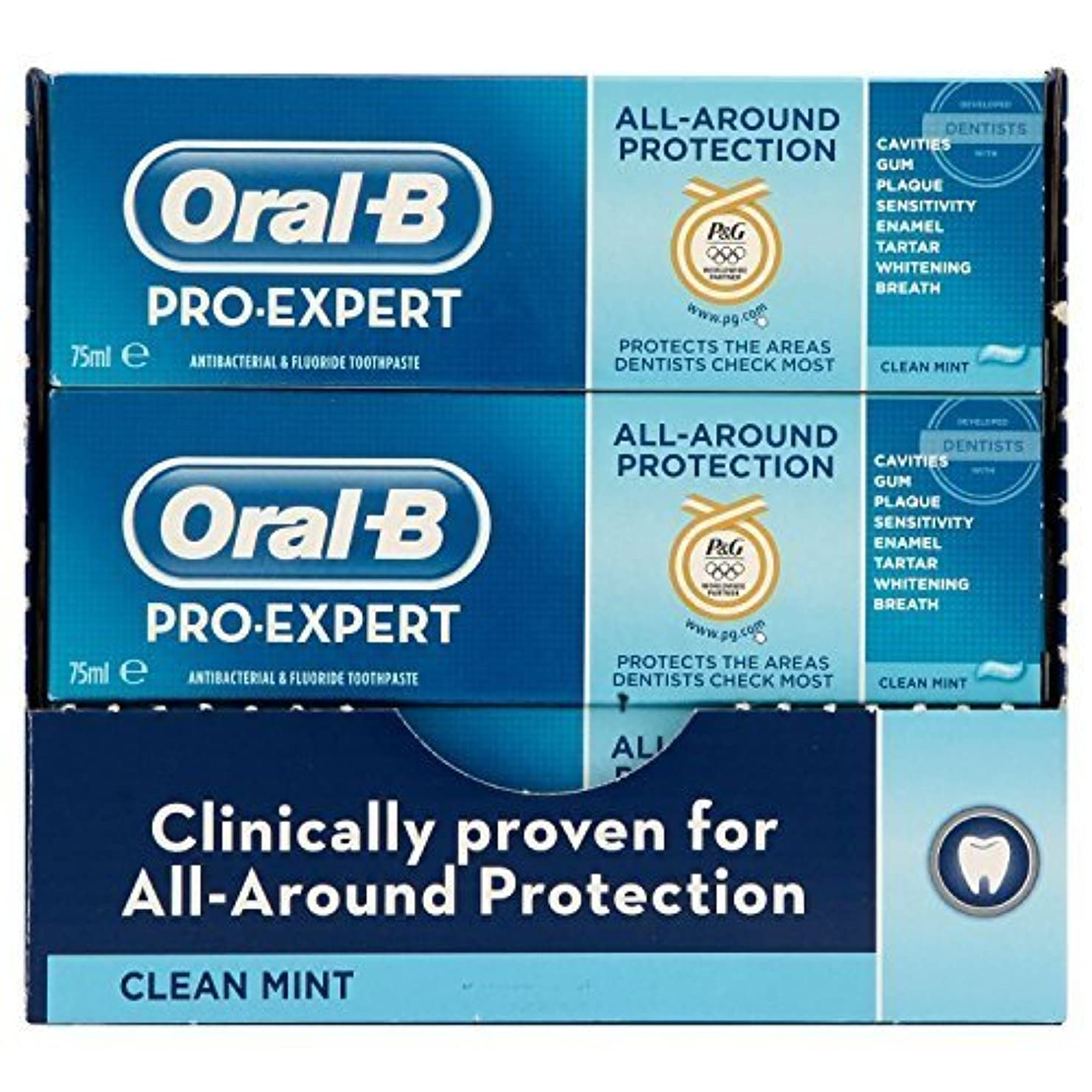 好奇心盛訴えるかんがいOral-B Pro-Expert All-Around Protection Clean Mint Toothpaste 75 ml (Pack of 8) by PG