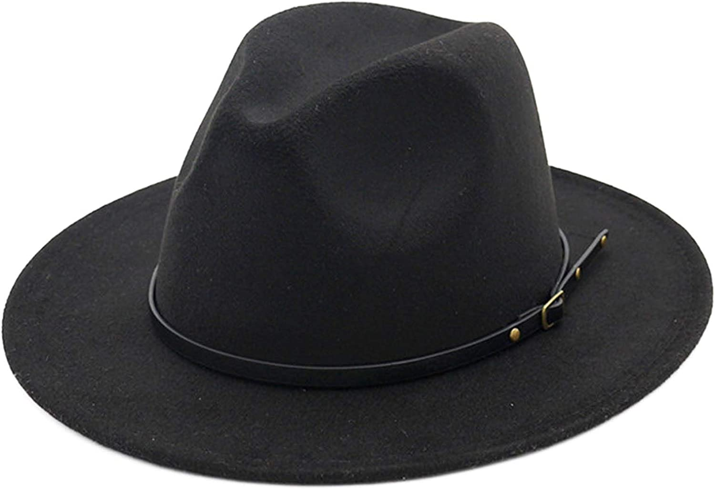 Women's Felt Panama Hats Classic Wide Brim Rancher Fedora with Belt Buckle (Head Circumference 57cm to 58cm)
