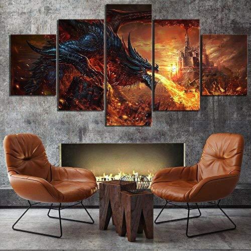 WANGZUO Cuadro sobre Lienzo Fuego Feroz Dragón Castillo Wow Impresion En Calidad Fotografica Enmarcado Y Listo para Colgar DiseñO Moderno DecoracióN Formato Multipanel 5 Piezas-150 * 80cm