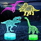 Comforhous 3D Dinosaur Night Light for Boys Room, 4-Patterns and Timing Function, 7 Color Changes & Remote Control, LED Illusion Night Lamp T Rex Dino Toys Gifts for Boys Girls Kids 4 5 6 7 8 9 Years