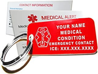 My Identity Doctor - Custom Engraved Medical Alert ID Keychain Tag, Plastic, Rectangle, Red, Small, 2.25 x .79 Inch - Made in USA