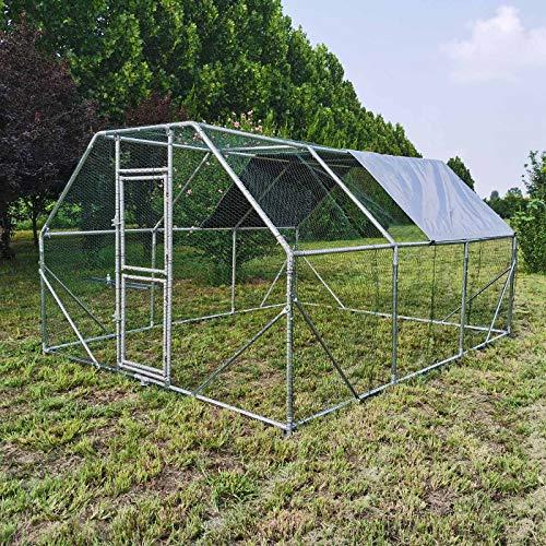 Wiltec XXL Freilaufgehege 4x3x2m für viel Auslauf mit wasserdichtem Sonnendach und Tür Voliere Außengehege