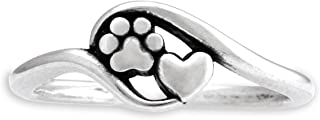 Sterling Silver Heart and Dog Paw Print Wrap Ring