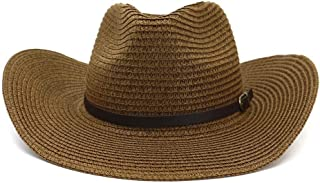 SXQ Women's Men's UV Protective Straw Hat Cowboy Hat Roll Up Brim Sun Hat Summer Beach Hat with Leather Band Decoration Jazz Hats (Color : Coffee, Size : 56-58CM)
