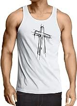 lepni.me Camisetas de Tirantes para Hombre angustiada Cruz Santa - Ideas de Regalos religiosos. Ropa de Religión Cristiana, Resurrección de Jesús
