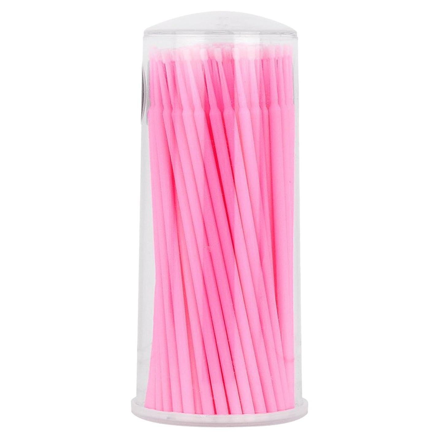 小切手尊厳役職Kesoto マイクロブラシ まつげ 使い捨て 睫用 先端曲げ アプリケータ 約100個入り  - ピンク