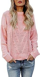 Farktop Womens Crew Neck Sweaters Cute Long Sleeve Loose Fit Knit Pullover Jumper Tops