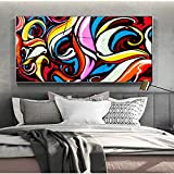 Geiqianjiumai Colorido cráneo Graffiti Wall Art Abstract Canvas Painting Street Art Canvas decoración Moderna y Pintura sin Marco 60X120cm
