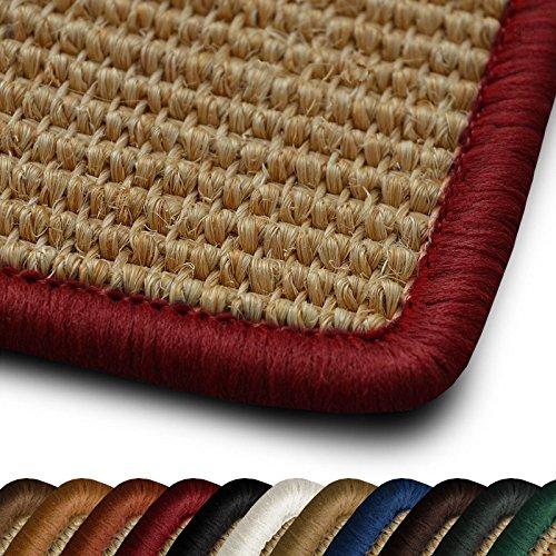 casa pura Sisal Läufer Teppich myStyle | Kettelung in Wunschfarbe | Naturfaser | viele Größen zur Auswahl (Kettelung Rot, 66x100 cm)