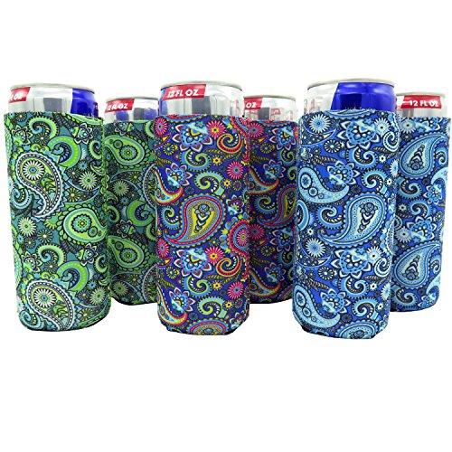 Slim Can Sleeves - Set of 6 Can Neoprene Beverage Coolers (6Pack - Paisley)