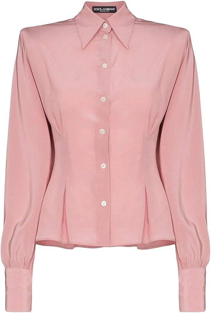 Dolce & gabbana luxury fashion, camicia rosa per donna,in vera seta al 100 %,manica lunga,taglia: 44 F5L47TFU1A8F0568