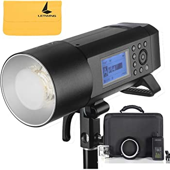 Godox AD400Pro Witstro All-in-One Outdoor Flash 400ws Strong Power,0.01~1s Recycle Time,12 Continuous Flashes in 1/16 Power Output,30w Modeling Lamp,390 Full Power Pops,Stable Color Temperature