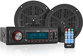 Marine Headunit Receiver Speaker Kit - In-Dash LCD Digital Stereo w/ AM FM Radio System 5.25'' Waterproof Cone Speakers (2) MP3/USB/SD Readers Aux Input Single DIN & Remote Control - Pyle PLMRKT12BK
