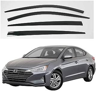 AUTOCLOVER Dark Smoked Side Window Vent Visor 4 Piece Set for Hyundai Elantra 2015 2016 2017 2018 2019 2020 / Safe RAIN Out-Channel Guard Deflector