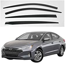 AUTOCLOVER Dark Smoked Side Window Vent Visor 4 Piece Set for Hyundai Elantra 2015 2016 2017 2018 2019 2020 / Safe RAIN Out-Channel Guard Deflector