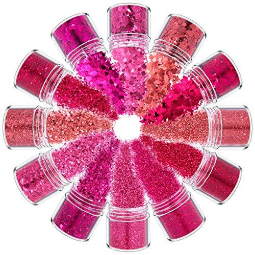 Rtengtunn 12 Colores Mezclados holográfico Grueso Brillo Cara Cuerpo Ojo Pelo uñas Resina Lentejuelas - F