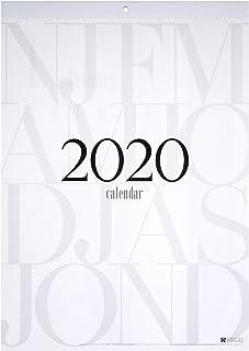 2020年壁掛けカレンダー B3 シンプル&スタイリッシュデザイン タイポグラフィ