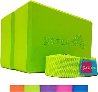 Pavandeep Yoga Blocks (1 Block or 3pc Yoga Block and Strap Set) High Density EVA Foam Blocks + Yoga Strap, Balance Stretching Stability & Support