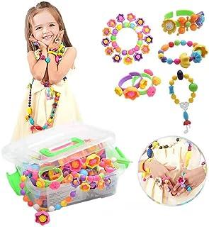 BLAZOR Schmuck Basteln Mädchen Kit, Spielzeug Mädchen 3 4 5 6 7 8 9 10Jahre , Mädchen kreative Idee Halsketten/Armbänder/Ringe/Armbänder, Geburtstag / Party