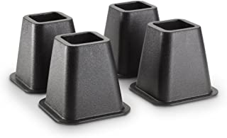 KENNEDY HOME COLLECTIONS Simplify Bed Riser - Bed Lifters - Furniture Risers for Bed, Chairs, Tables - Black - Pack of 4-6 Inch Long
