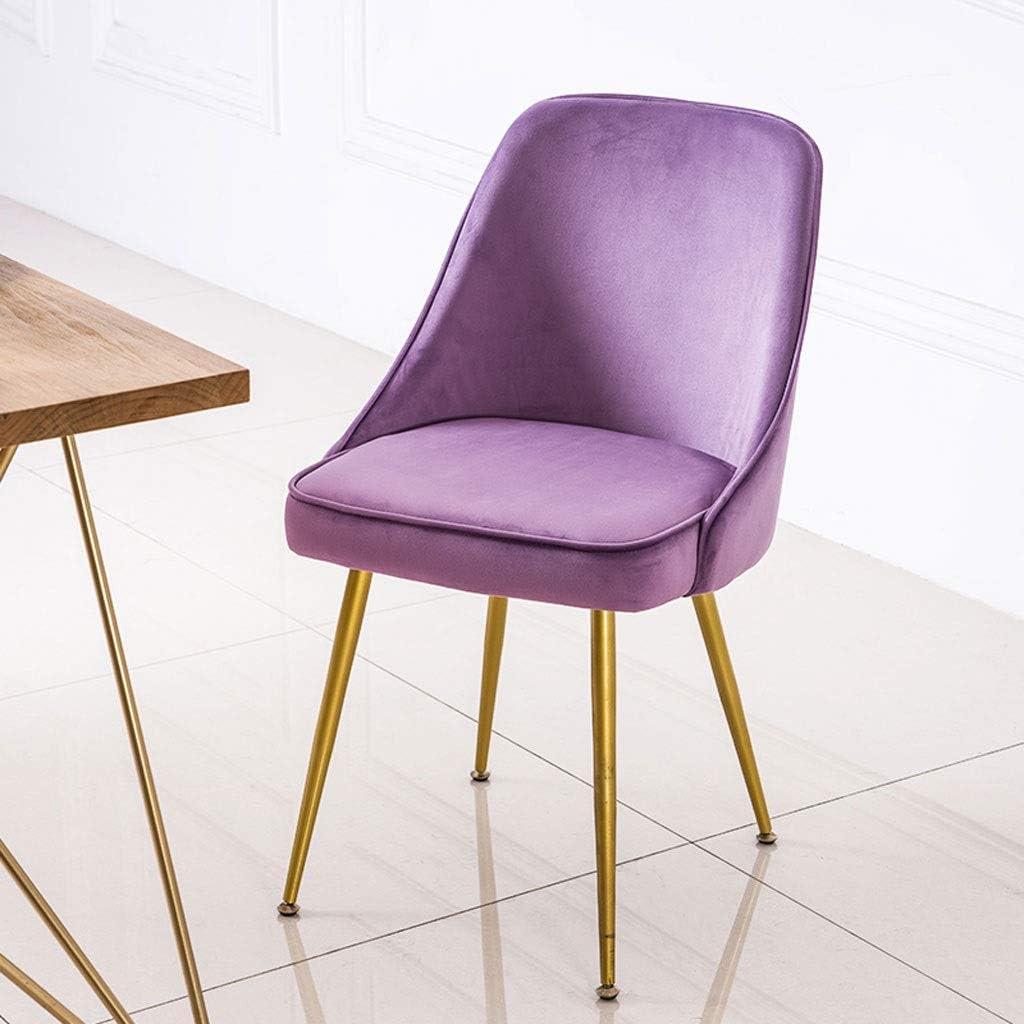 Chaise de Salle à Manger en Fer avec Dos en Bois Maquillage Bureau café Maison Chambre dortoir Bureau Multicolore MUMUJIN (Couleur : Jaune) Violet