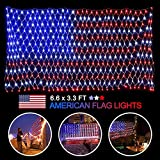 American Flag LED Lights with 390 Super Bright String Lamps, 6.6 x 3.3 ft Waterproof USA Flag Net Lights, Outdoor Lighted Hanging Ornaments for Festival, Party, Christmas, Independence Day Decoration