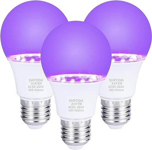 SHPODA 3 PACK 9W UV LED Black lights Bulb,A19 E26 UV Blacklight Bulb UVA Level 385-400nm,Glow in The Dark for Blackli...