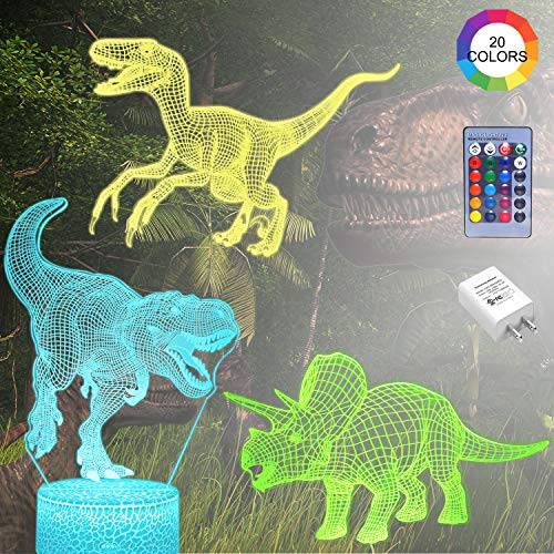Dinosaur Night Light for Boy 3D Nightlight Dinosaur Gift 3 Patterns T-Rex Triceratops Velociraptor, Kids Decor Lamp Remote Control Bed Room Best Gift Toys for Boys Girls (UL Wall Charger Included)
