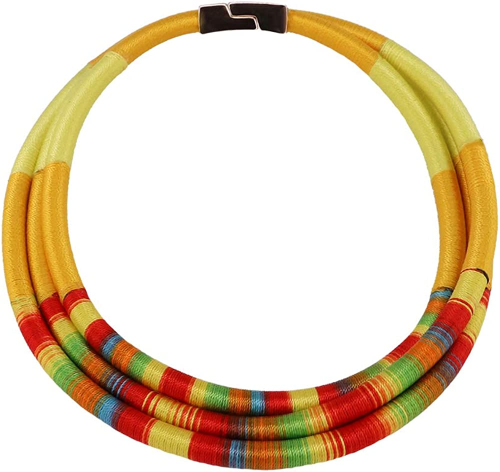 GMQHD African Magnetic Choker for women,Chunky Bib Statement Torque Clasps Multi Layers Tribal Collar Necklaces,Fashion Jewelry Sets Best Friend Gift Box.