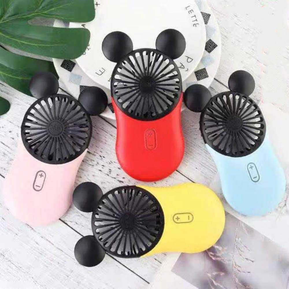 Kbinter Cute Personal Mini Fan, Handheld & Portable USB Rechargeable Fan with Beautiful LED Light, 3 Adjustable Speeds, Portable Holder, for Indoor Or Outdoor Activities, Cute Mouse (Blue)