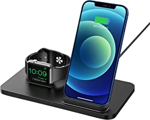 2 in 1 Wireless Fast Charger Stand - TopSeneo iPhone Charging Dock, iWatch Holder for Series SE/6/5/4/3/2, 7.5W Charging Station Compatible with iPhone 12/12 Pro Max/11/SE 2/XR/Xs/X/8/8P