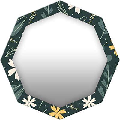 999Store Printed White and Yellow Flowers Octagon Mirror(MDF_17X17 Inch_Multi)