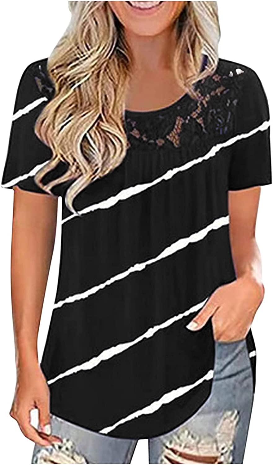 AODONG Short Sleeve Tops for Women, Women's Summer Tops Plus Size Lace Pleated Shirts Casual Loose Blouses Tops Tunics