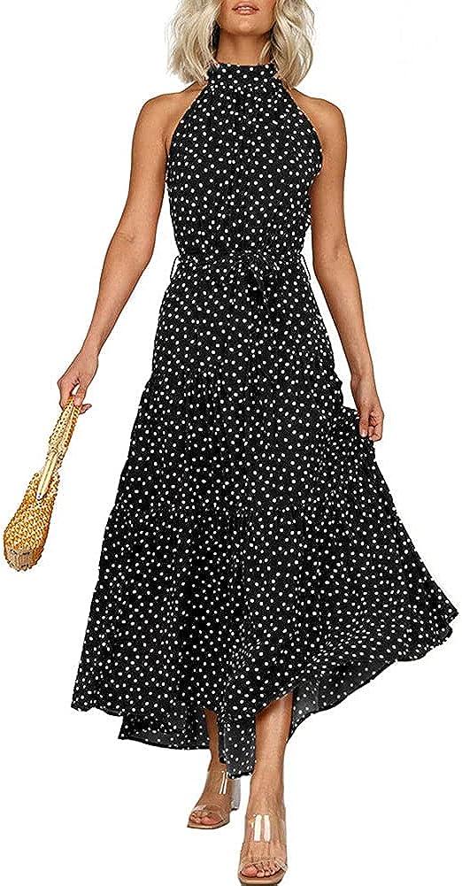 Women Bohemian Style Sleeveless Halter Floral Print Maxi Dress High Waist Pleated Long Dress