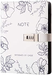 Lock Journal A5 Binder Diary Faux Leather Refillable Journal Loose Leaf Spiral Flower Locking Notebook