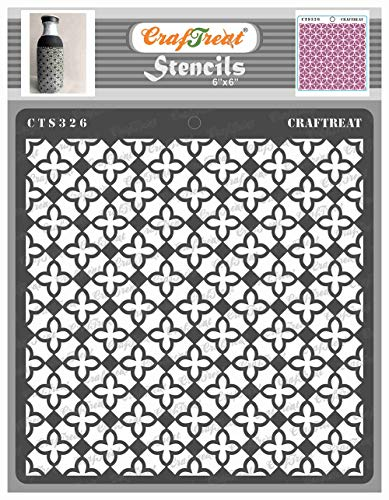 CrafTreat Pattern Stencils for Painting on Wood, Wall, Tile, Canvas, Paper, Fabric and Floor - Mini Tile Flower Stencil - 6x6 Inches - Reusable DIY Art and Craft Stencils Patterns for Painting