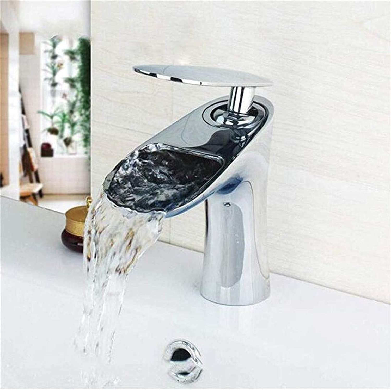 Luxury Modern Hot and Cold Faucet Vintage Platingfaucet Silver Deck Mounted Waterfall Bathroom Wash Basin Sink Faucets Mixers Taps