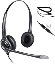 Double Ear Ultra Noise Canceling Call Center/Office Headset & QD Cable for All Cisco 6900, 7800 and 8000 Series Phones and Also Models 7940 7941 7942 7945 7960 7961 7962 7965 7970 7975 etc