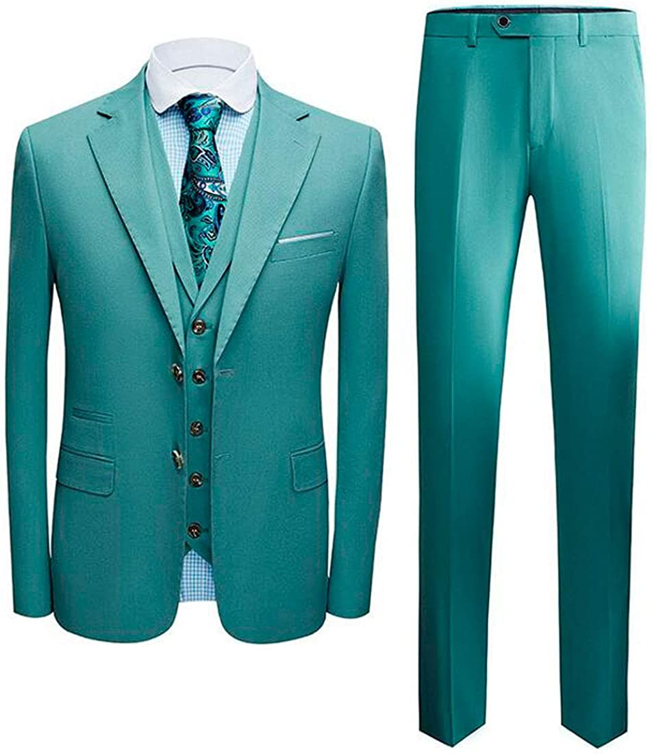 Men's Two Buttons Green Notch Lapel Suits for Wedding Regular Fit Prom Tuxedos Jacket Vest Pants