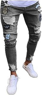 Legou Men's Skinny Badges Destroyed Tapered Leg Jeans