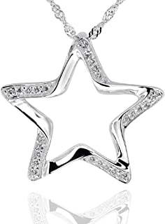 Sterling Silver Round Cubic Zirconia Cut-Out Star Pendant Necklace 18