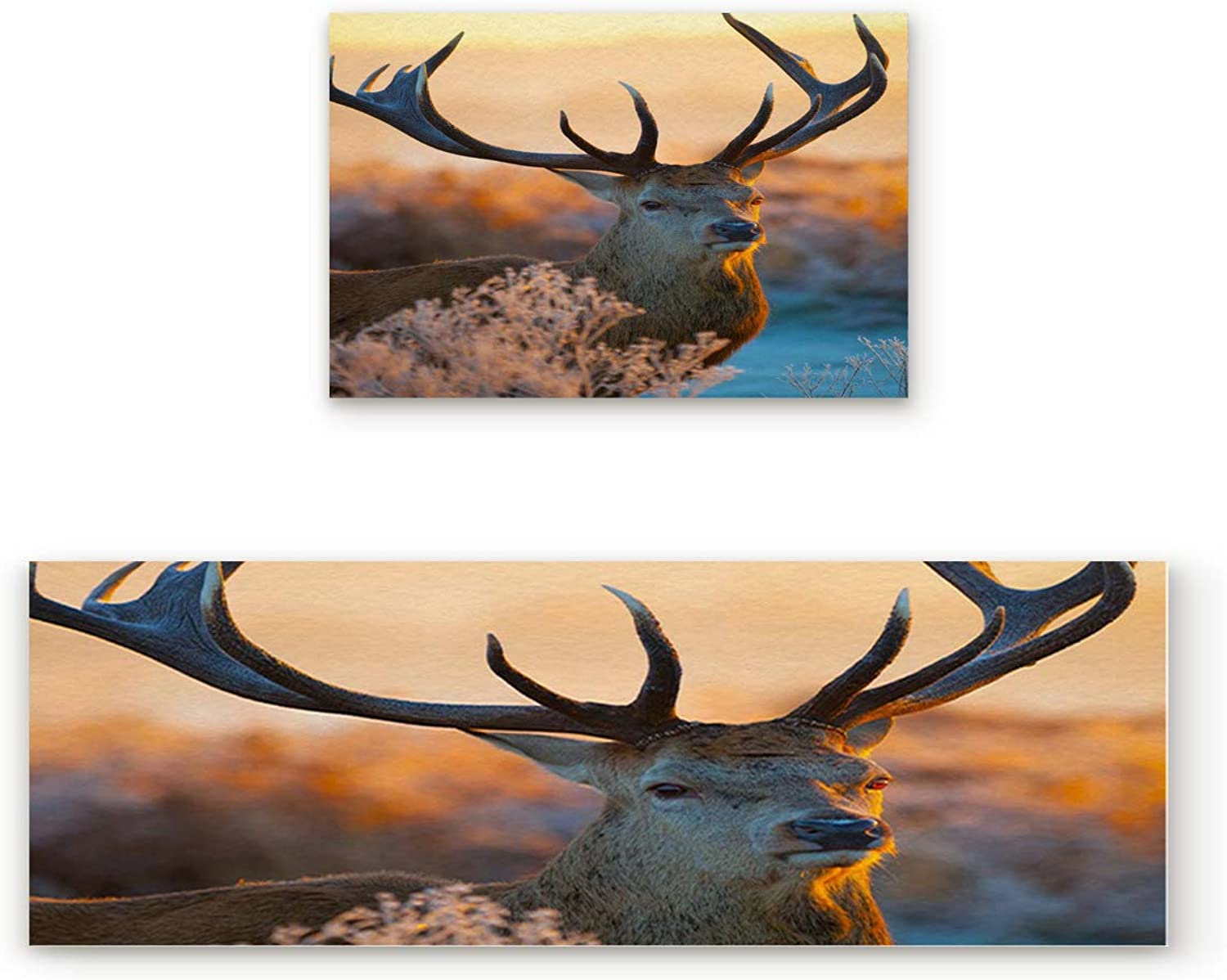 KAROLA 2 Piece Non-Slip Kitchen Mat Doormat Runner Rug Set Thin Low Pile Indoor Area Rugs Fantastic Deer in Sunset Forest 19.7 x31.5 +19.7 x47.2