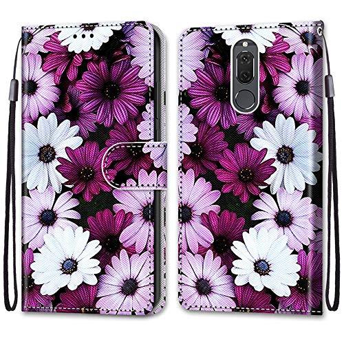 ShinyCase für Huawei Mate 10 Lite,Lederhülle Brieftasche Handyhülle ID Kartenfächer Magnetischer Etui Protective Anti-Scratch Schutz PU Leder Hülle für Huawei Mate 10 Lite -Lila Gänseblümchen